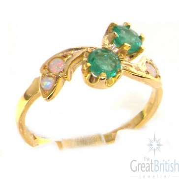 9ct Yellow Gold Ladies Emerald & Opal English Made Victorian Style Ring