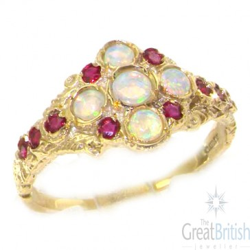 9ct Yellow Gold Opal & Ruby English Cluster Ring