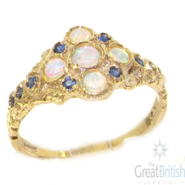 9ct Yellow Gold Opal & Sapphire English Cluster Ring