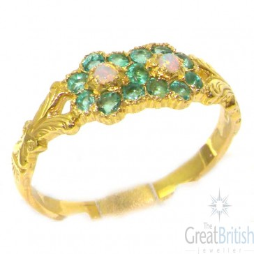 18ct Yellow Gold Ladies Victorian Style Opal & Emerald Cluster Ring