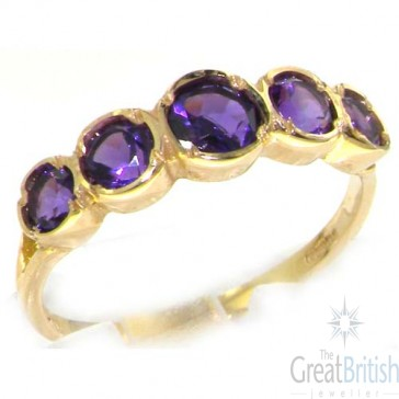9ct Yellow Gold Ladies Amethyst 5 Stone Eternity Ring