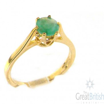 9ct Yellow Gold Ladies English Made Emerald Solitaire 0.75ct 3/4ct Engagement Ring