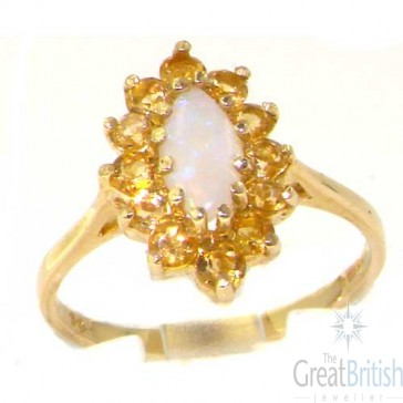 9ct Yellow Gold Ladies Stunning Luxury Marquise Fiery Opal & Citrine Cluster Ring