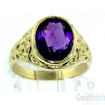 9ct Gold Mens Amethyst Ring with Paisley Carved Shoulders