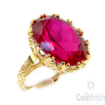 9ct Yellow Gold Large Synthetic Ruby Ring