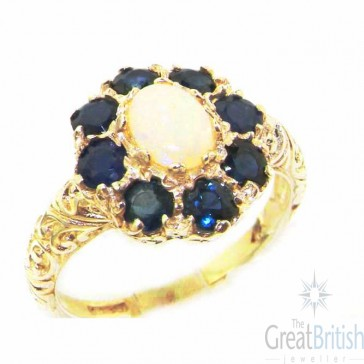 9ct Yellow Gold Womens Large Opal & Sapphire Art Nouveau  Ring