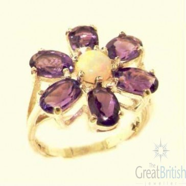 9ct Yellow Gold Womens Large Fiery Opal & Amethyst Flower Ring