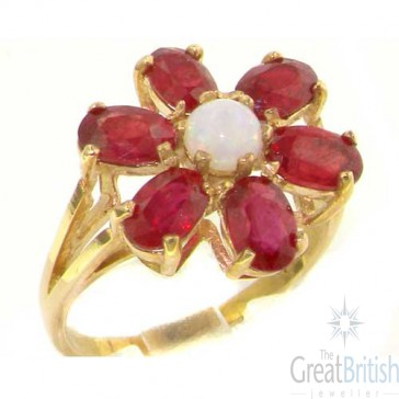 9ct Gold Large Fiery Opal & Ruby Ring