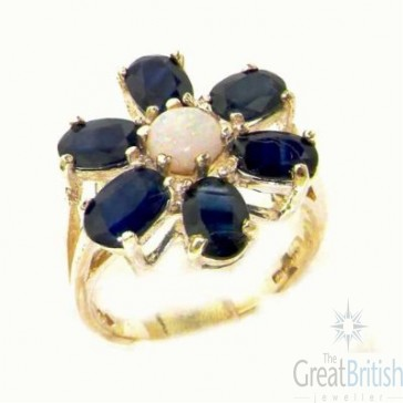 9ct Yellow Gold Womens Large Fiery Opal & Sapphire Flower Ring