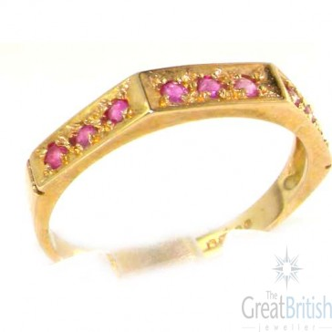 9ct Yellow Gold Ladies Natural Ruby Eternity Band Ring