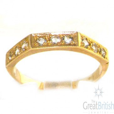 9ct Yellow Gold Ladies Natural Aquamarine Eternity Band Ring