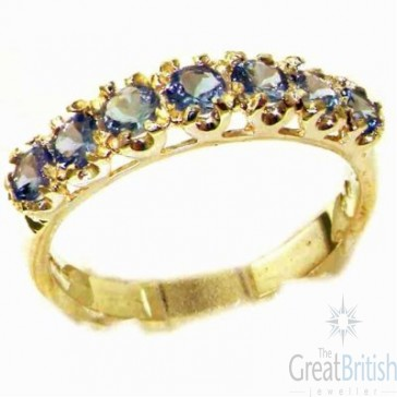 9ct Yellow Gold Womens Tanzanite Vintage Style Eternity Band Ring