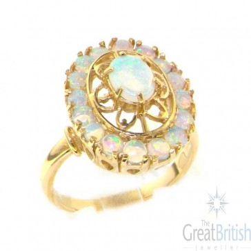 9ct Yellow Gold Ladies English Made Large Colorful Fiery Opal Cluster Ring