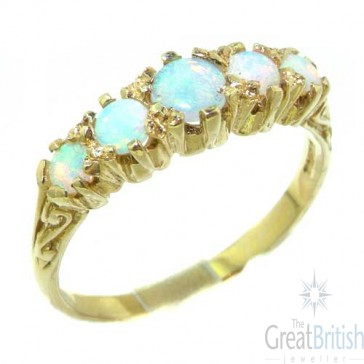 14K Yellow Gold Natural Fiery Opal Ring