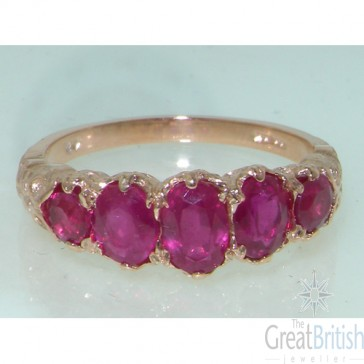 9ct Rose Gold Ruby 5 Stone Ring
