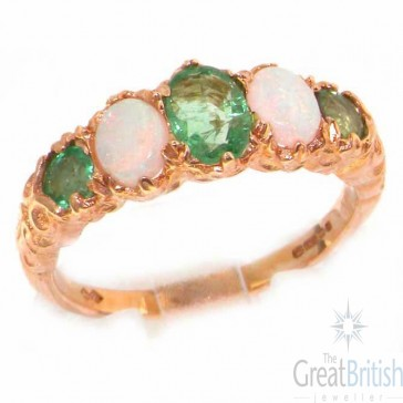 9ct Rose Gold Emerald & Opal Ring