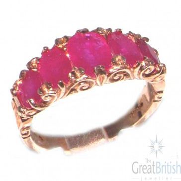 9ct Rose Gold Ladies 5 Stone Ruby English Victorian Style Ring