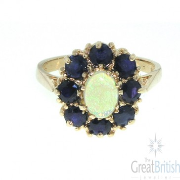 14K Rose Gold Fiery Opal & Sapphire Cluster Ring