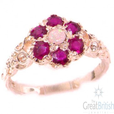9ct Rose Gold Natural Fiery Opal & Ruby Daisy Ring