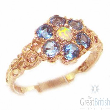 9ct Rose Gold Natural Fiery Opal & Blue Topaz Daisy Ring