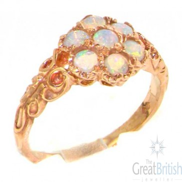 9ct Rose Gold Natural Fiery Opal Victorian Daisy Ring