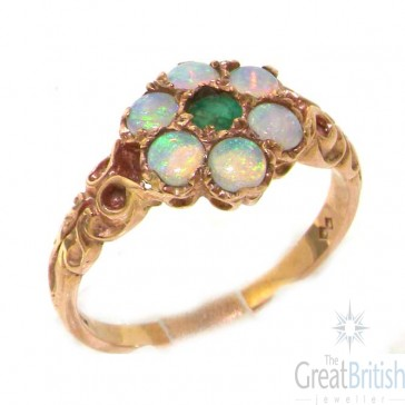 9ct Rose Gold Emerald & Opal Daisy Ring