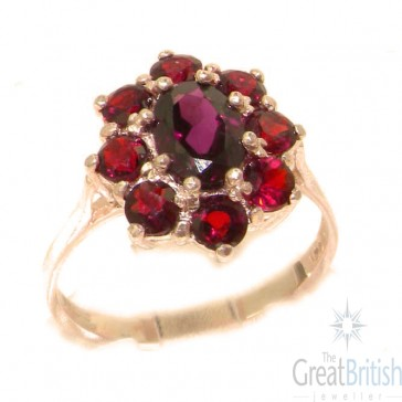 9ct Rose Gold Natural AAA Grade Garnet Cluster Ring