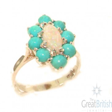9ct Rose Gold Natural Opal & Turquoise Cluster Ring