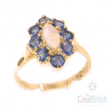 9ct Rose Gold Natural Fiery Opal & Cornflower Blue Sapphire Ring