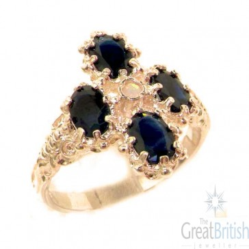 9ct Rose Gold Natural Sapphire & Fiery Opal Ring