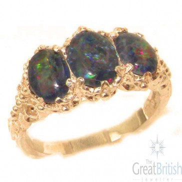 9ct Rose Gold Colorful Opal Ladies Ring