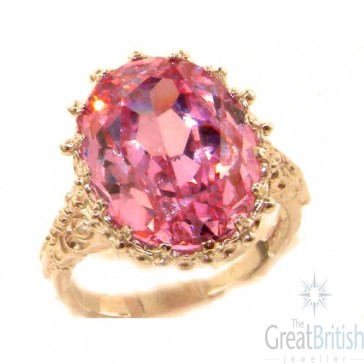9ct Rose Gold Large 16x12mm Oval 13ct Synthetic Pink Sapphire Ring
