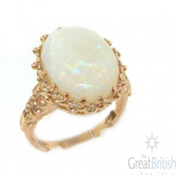14K Rose Gold Large 16x12 Colourful Opal Ring