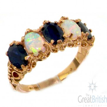 9ct Rose Gold Sapphire & Fiery Opal Ring