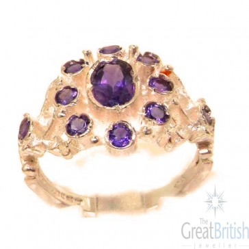 9ct Rose Gold Natural Amethyst Ring