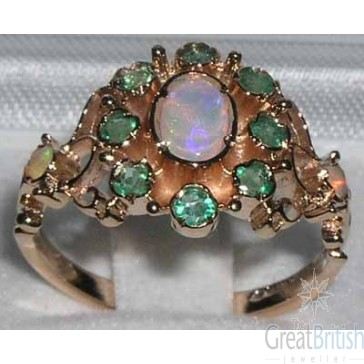 9ct Rose Gold Natural Opal & Emerald Ring