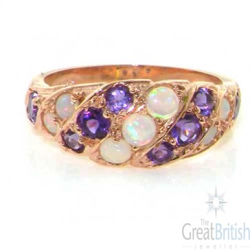 9ct Rose Gold Natural Fiery Opal & Amethyst Band Ring