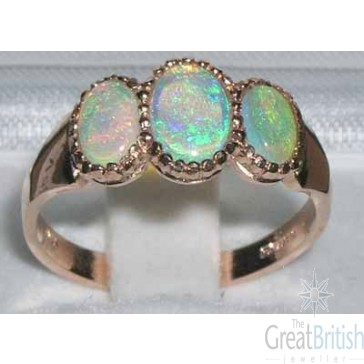 Dainty 9ct Rose Gold AAA Quality Colourful Fiery Opal Ring