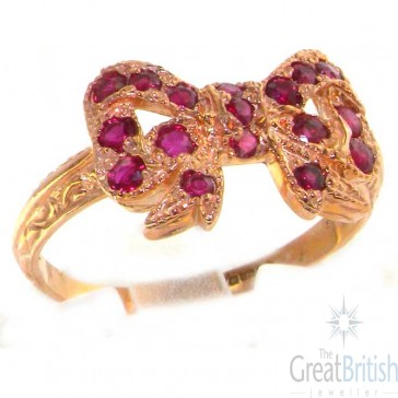 9ct Rose Gold  Ruby Vintage Style Bow Ring