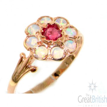 9ct Rose Gold Ruby & Fiery Opal Cluster Ring