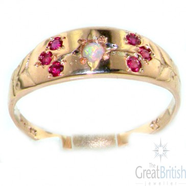 9ct Rose Gold Fiery Opal & Ruby Gypsy Ring