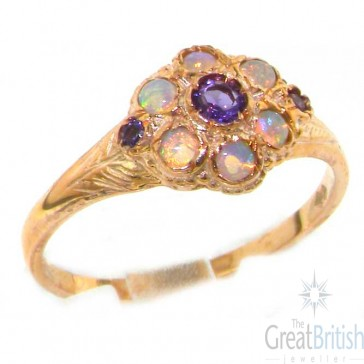 9ct Rose Gold Ladies Amethyst & Fiery Opal Vintage Style Cluster Ring