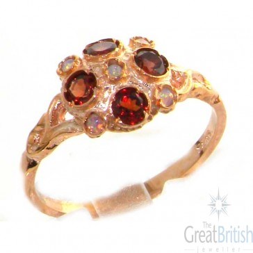 9ct Rose Gold Ladies Fiery Opal & Garnet Vintage Style Cluster Ring