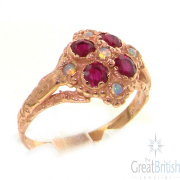 9ct Rose Gold Ladies Vintage Style Opal & Ruby Cluster Ring