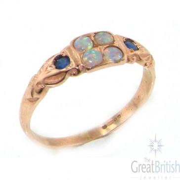 9ct Rose Gold Ladies Opal & Sapphire Vintage Style Eternity Ring