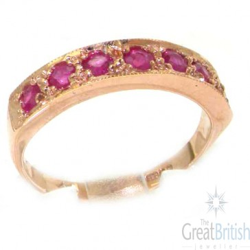 9ct Rose Gold Ladies Natural Ruby Eternity Band Ring