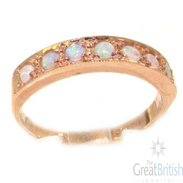 9ct Rose Gold Ladies Natural Opal Eternity Band Ring