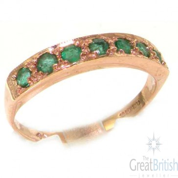 9ct Rose Gold Ladies Natural Emerald Eternity Band Ring