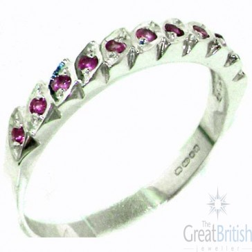 Sterling Silver Vibrant Natural Ruby Eternity Ring