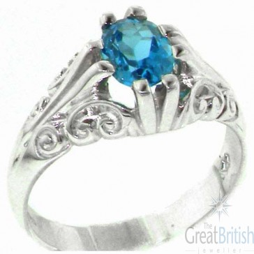 Sterling Silver Large 8x6mm Natural Blue Topaz Antique Style Ring